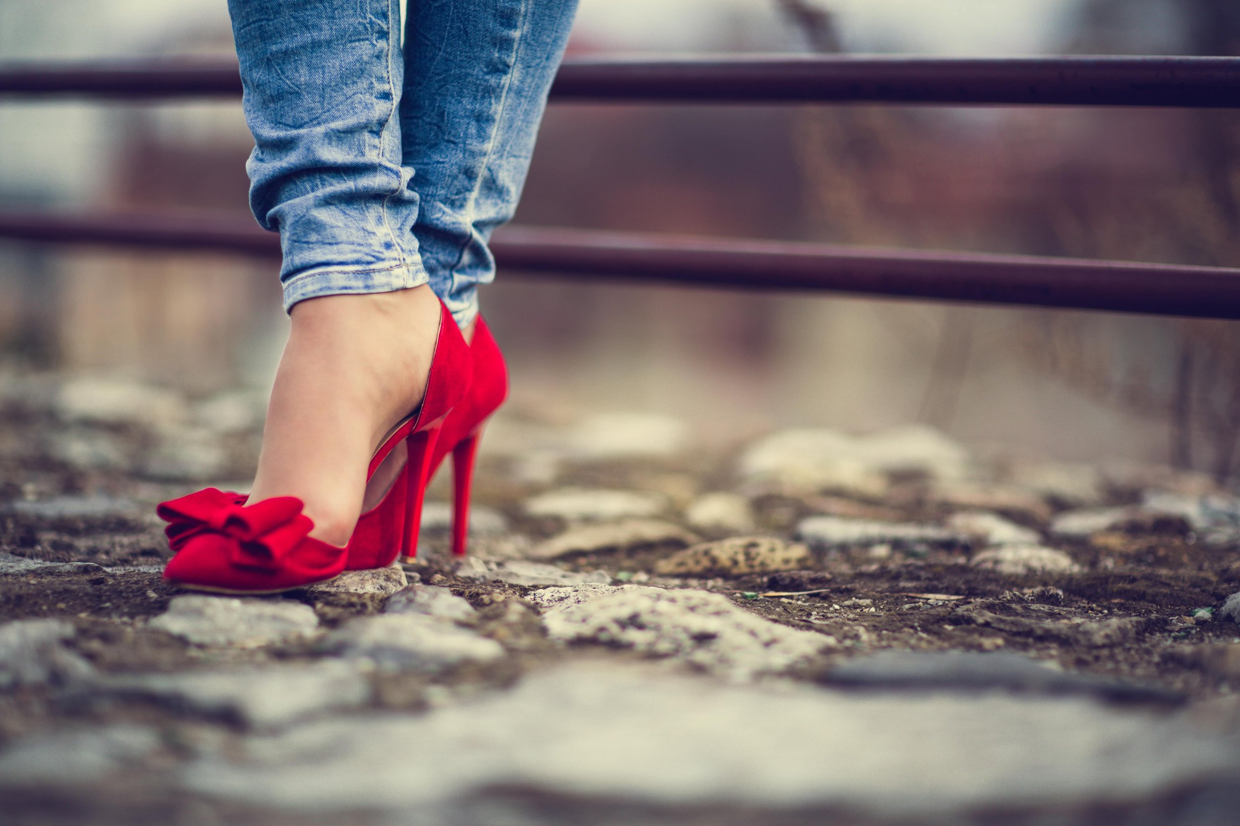 Beautiful pair of red high heels